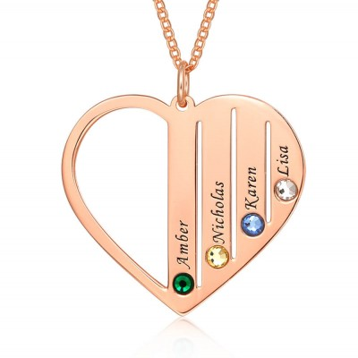 18K Rose Gold Plating Personalized Family Engraved 1-7 Birthstones and Name Necklace