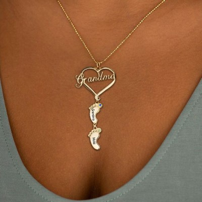 Personalized Grandma Heart Baby Feet Pendant Birthstone Name Necklace with 1-10 Charms