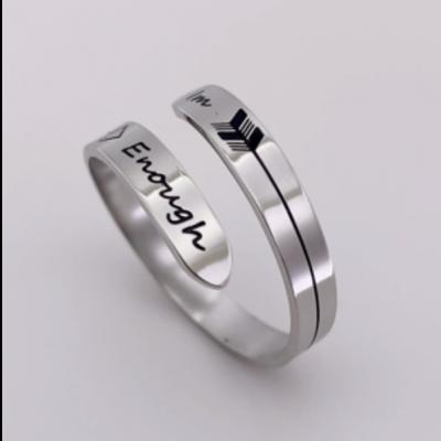 S925 Sterling Silver Adjustable Engraving Ring Encouragement Gift