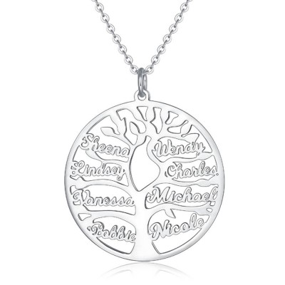 Silver Personalized Family Tree 1-9 Name Engraved Necklace