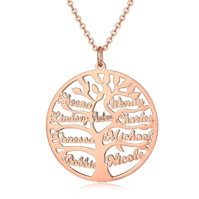18K Rose Gold Plating Personalized Family Tree Engraved 1-9 Name Necklace