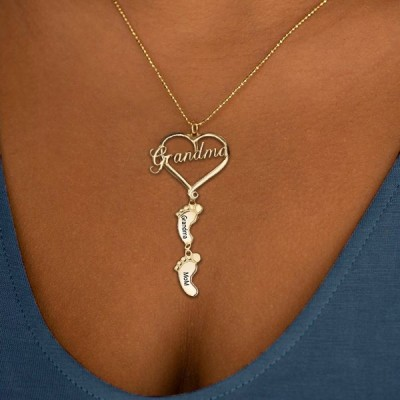 Personalized Love Grandma Heart Baby Feet Shape Engraved Name Necklaces With 1-10 Pendants