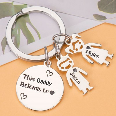 Personalized 1-10 Kids Charms Engraving Name Keychains Gifts For Father's Day