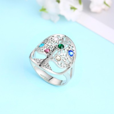 Personalized Family Tree Ring with 1-6 Birthstones