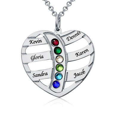 Personalized Heart Love Shape Engraved 1-6 Birthstone and Name Necklace