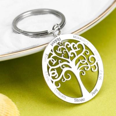 Family Tree Engraved Key Chain