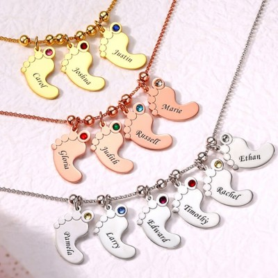 Silver Personalized 1-6 Baby Feet Engravable Charms Name Necklace With Birthstone