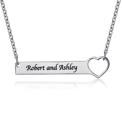 Personalized Coupon Name Necklace Bar Customized Necklace With Heart