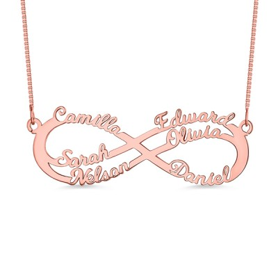 Personalized 6 Names Infinity Symbol Necklace