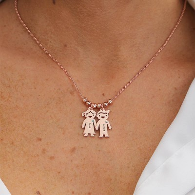 Personalized Family 1-10 Kids Charms Name Engraved Necklace With Birthstone