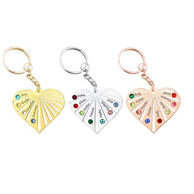 Sterling Silver Personalized 1-8 Engraving Names with Birthstone Key Chain Gift