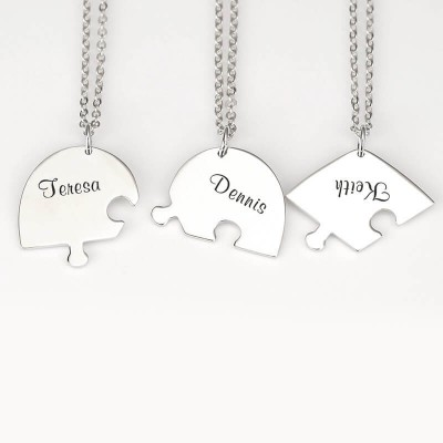 Silver Personalized Heart Shape 1-7 Pieces Name Necklace For Family