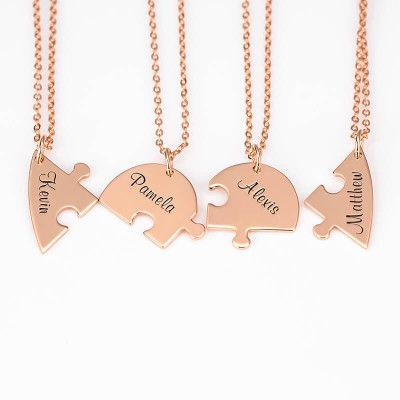 18K Rose Gold Plating Personalized Heart Shape 1-7 Pieces Name Necklace For Family