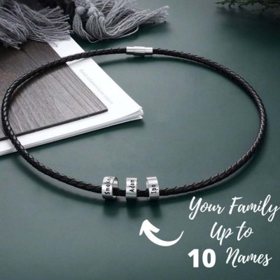 Men's Braid Personalized Name Engraving Leather Necklaces With 1-10 Beads