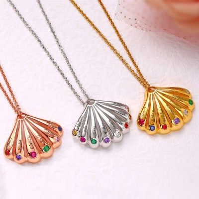 18K Rose Gold Plating Personalized Shell Shape Pendant 1-9 Name Birthstone Necklace