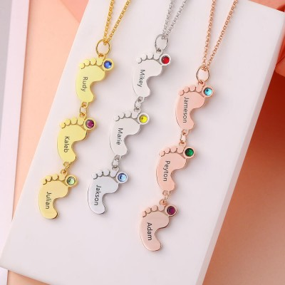 Silver Vertical 1-10 Baby Feet Charms Personalized Name Necklace with Birthstone