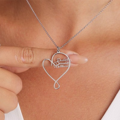 Silver Personalized Hug and Love Heart Names Necklace With 1-8 Names