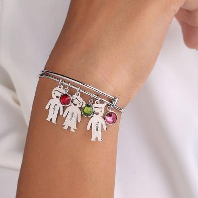Silver Custom 1-12 Charms Kids Engraved Name Bracelet Bangle With Birthstone