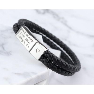 Men Personalized Engraved Name Leather Bracelets