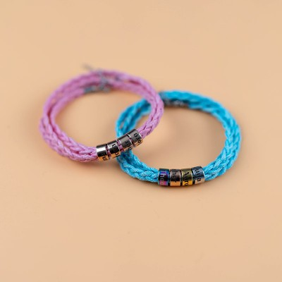 Personalized 4 Colors Strap Engraved Name Bracelets With 1-10 Beads