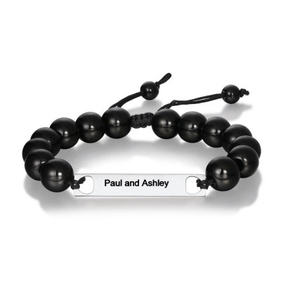 Mens Personalized Beads Engraved Name Bracelet
