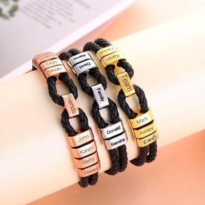 Men's Personalized Bead Name Bracelet For Him Gift