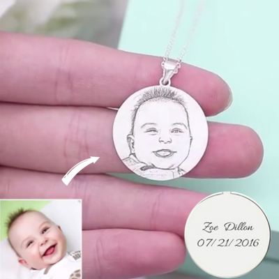 Personalized Engraved Round Shadow Carving Photo Necklace