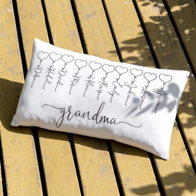 Personalized Family Pillow Engraving 1-16 Names For Mom Gift