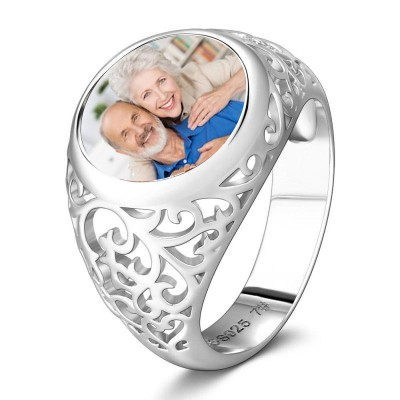 S925 Sterling Silver Round Personalized Photo Ring Anniversary Gifts