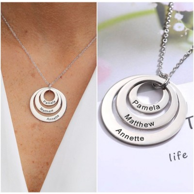 Personalized Engraved Double Hoop Name Necklace With 1-5 Circles Shape Style