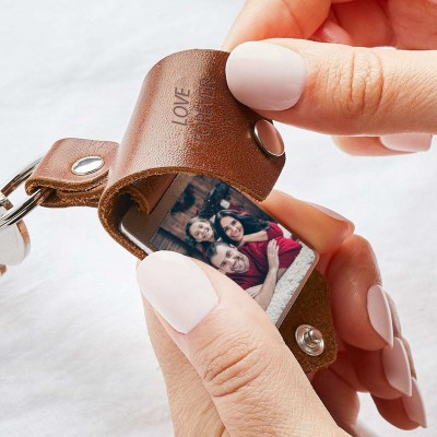 Personalized Brown Leather Photo Keychain Key Ring Gifts For Dad Father's Day