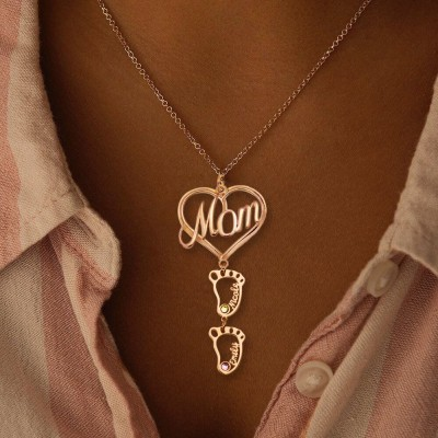 Personalized MOM Heart Pendant Birthstones Name Necklace with 1-10 Hollow BabyFeet Charms