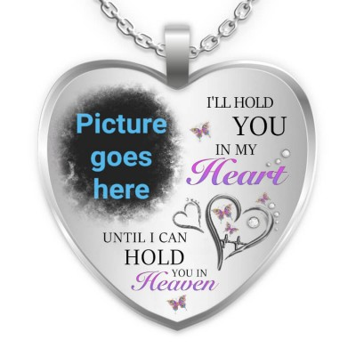 I'll Hold You In My Heart Personalized Engraving Memorial Heart Photo Necklace