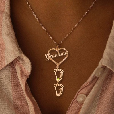Personalized Grandma Heart Pendant Birthstones Name Necklace with 1-10 Hollow BabyFeet Charms