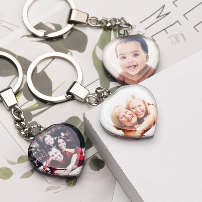 Custom Crystal Photo Keychain Personalized Picture Heart Gifts
