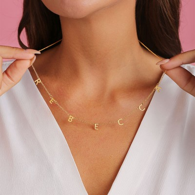 Personalized 1-10 Initial Letter Pendant Name Necklace For Her