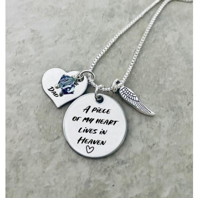 Personalized A Piece of My Heart Lives In Heaven Birthstone Necklace with Angel Wing
