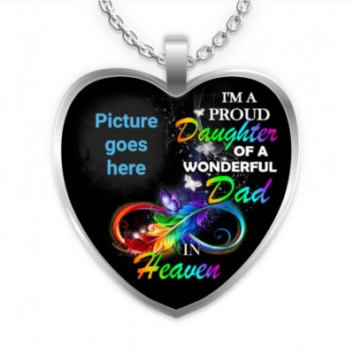I'm A Proud Daughter Of A Wonderful Dad In Heaven Necklace-Personalized Memorial Heart Photo Necklace