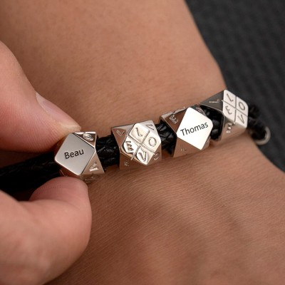 Father's Day Gift Silver Men's Braided Leather Name Bracelet With Polyhedral Custom Beads