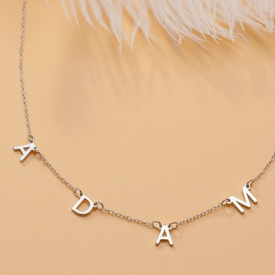 Silver Personalized 1-10 Initial Letter Pendant Name Necklace For Her