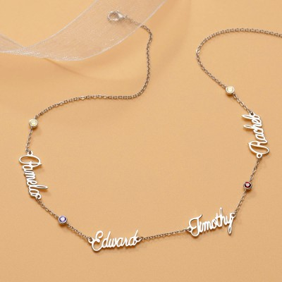Silver Personalized Name Necklace With 1-6 Names and Birthstones