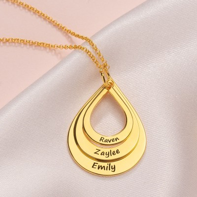 18K Gold Plating Custom Engraved Family Names Necklace Up To 5 Drops Shaped