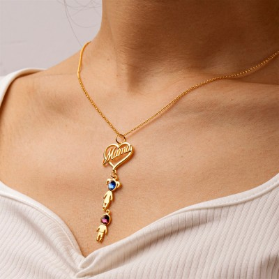 Mama Heart Pendant with Birthstone 1-10 Kids Charms