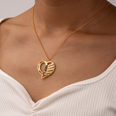 Personalized Heart Love Shape 1-6 Engraved Names and Birthstones Necklaces