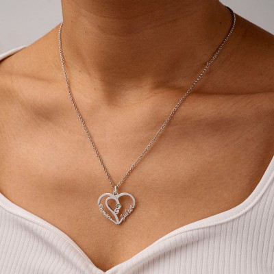 Heart Couple Name Necklaces With Birthstones
