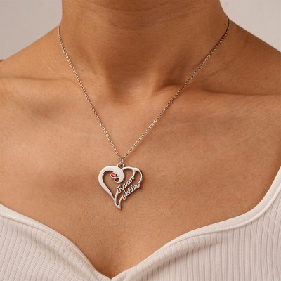Heart Couple Names Necklaces With Birthstones
