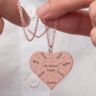 Personalized Heart Puzzle 1-12 Names Necklace