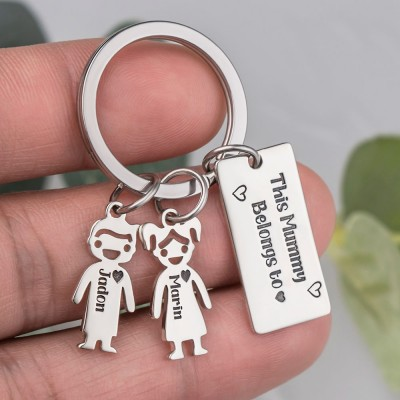 Personalized 1-10 Kids Charms Engraving Name Keychains Gifts