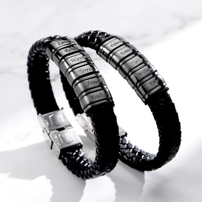 Personalized Mens Beads Braid Name Leather Bracelets With 1-10 Beads