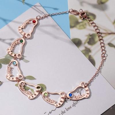 Custom Baby Feet Names Bracelet With 1-10 Birthstones for Mom